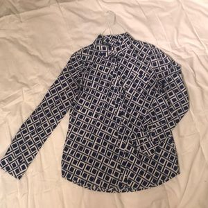 Blue and White Long Sleeve Button Down Shirt